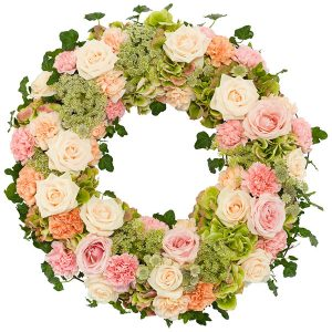 the_flower_shop_bury_florist_wedding_funeral_plants_gifts_valentines_roses_tulips_peach_pink_wreath